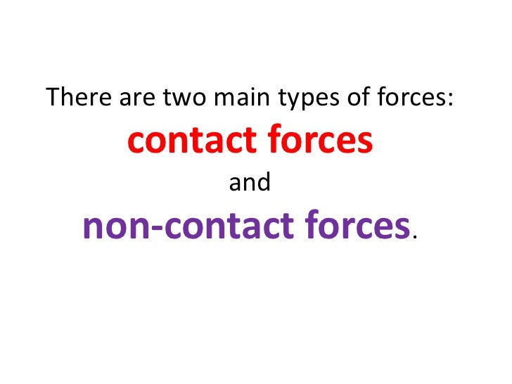 Forces And Non Contact