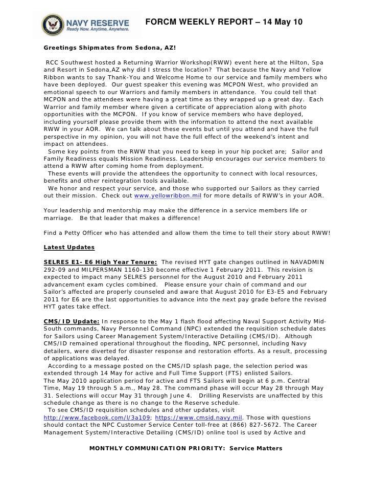 FORCM WEEKLY REPORT – 14 May 10  Greetings Shipmates from Sedona, AZ!   RCC Southwest hosted a Returning Warrior Workshop(...
