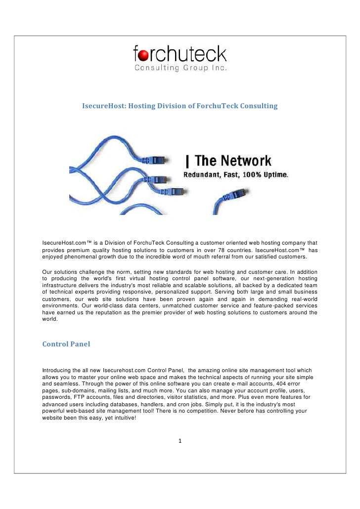 IsecureHost: Hosting Division of ForchuTeck Consulting     IsecureHost.com™ is a Division of ForchuTeck Consulting a custo...