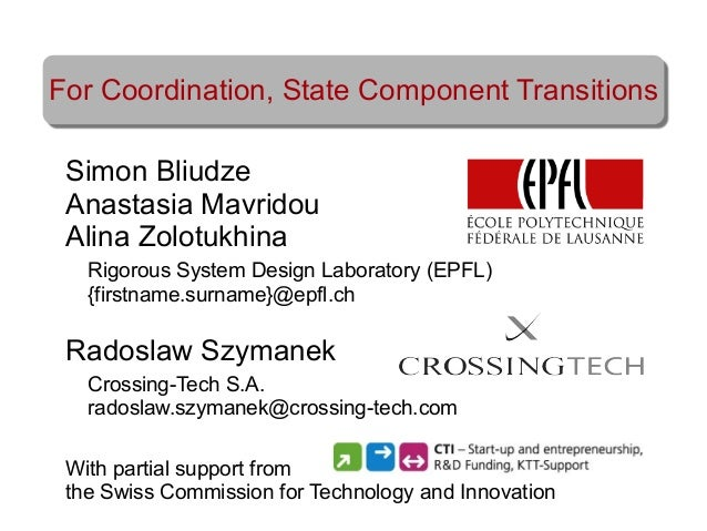 For Coordination, State Component Transitions - Radoslaw Szymanek, Simon Bliudze