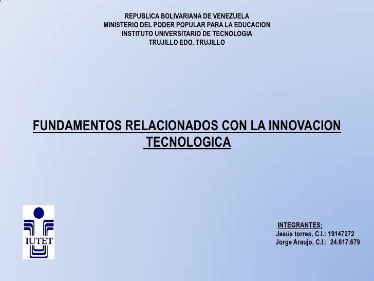 REPUBLICA BOLIVARIANA DE VENEZUELA         MINISTERIO DEL PODER POPULAR PARA LA EDUCACION              INSTITUTO UNIVERSIT...
