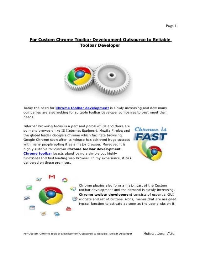 For custom chrome toolbar development outsource to reliable toolbar developer