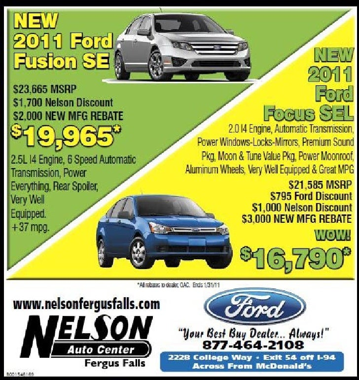 Ford car sale rebate at nelson auto center fergus falls mn