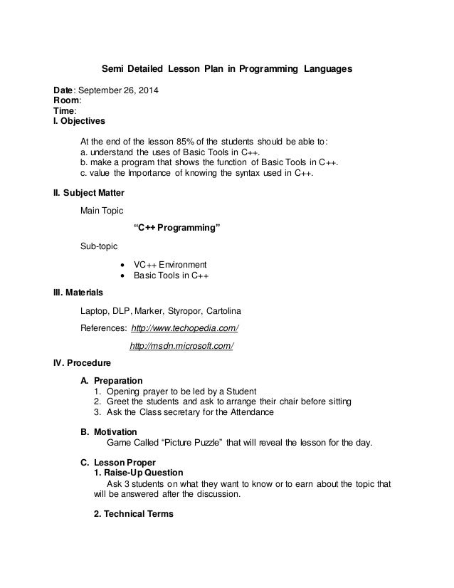 sample semi detailed lesson plans in english Module 5 sample lesson plans in mathematics 2 the section of english as a teaching tool suggests effective use of english language in the.
