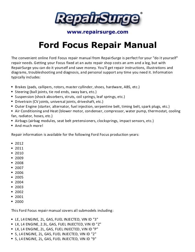 ford focus repair manual 2000 2012. Black Bedroom Furniture Sets. Home Design Ideas