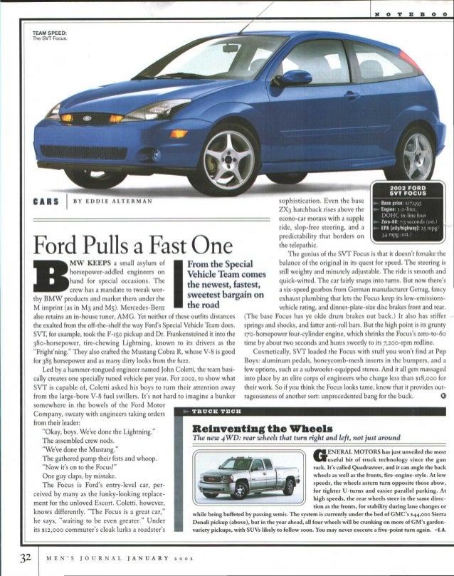 Ford Focus SVT Review - Men's Journal January 2002