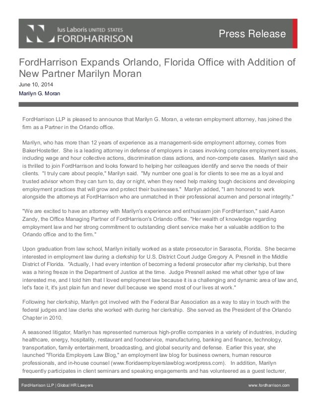 FordHarrison Expands Orlando, Florida Office with Addition of New Partner Marilyn Moran June 10, 2014 Marilyn G. Moran For...