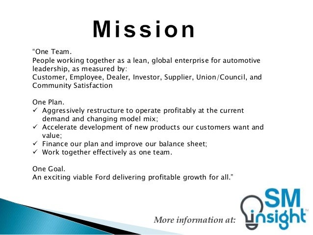 Ford mission statement for Ford motor company mission statement