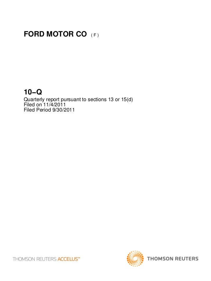 FORD MOTOR CO                 (F)10−QQuarterly report pursuant to sections 13 or 15(d)Filed on 11/4/2011Filed Period 9/30/...