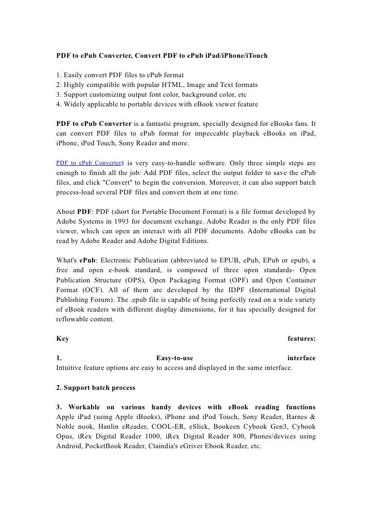PDF to ePub Converter, Convert PDF to ePub iPad/iPhone/iTouch
