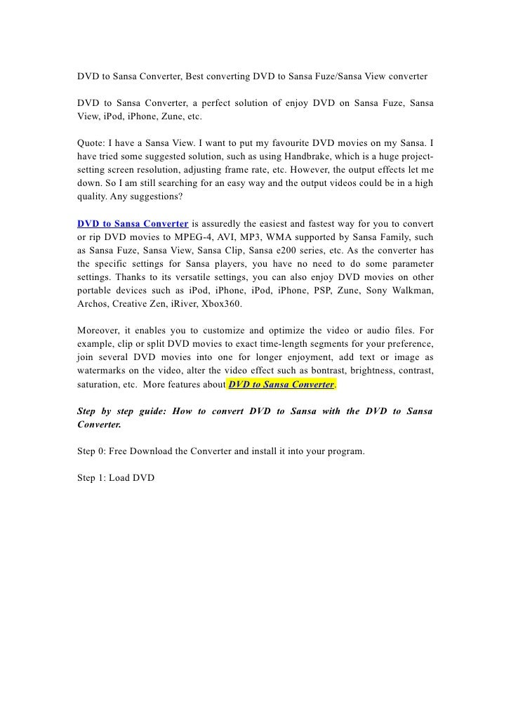 DVD to Sansa Converter, Best converting DVD to Sansa Fuze/Sansa View converter