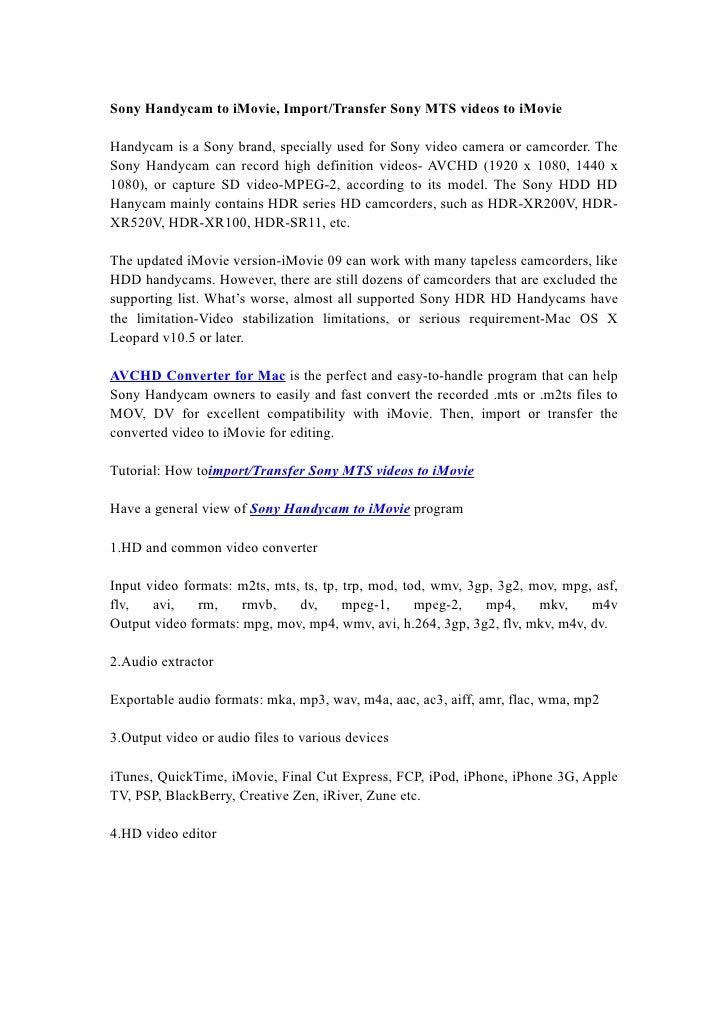 Sony Handycam to iMovie, Import/Transfer Sony MTS videos to iMovie