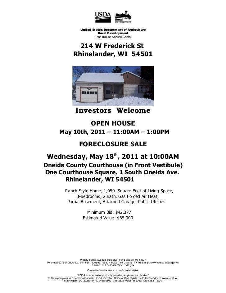 Foreclosure  Rhinelander