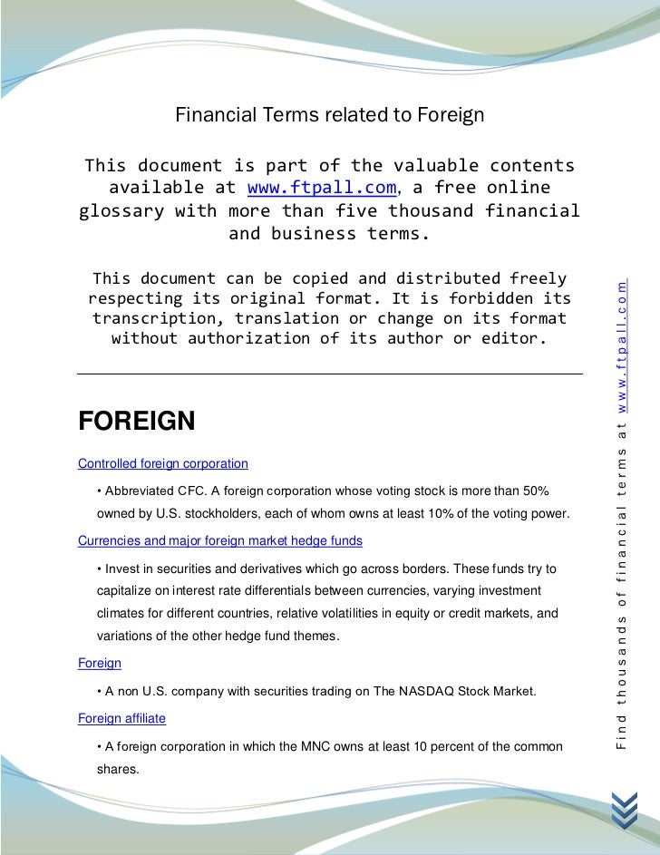 Financial Terms related to Foreign This document is part of the valuable contents   available at www.ftpall.com, a free on...