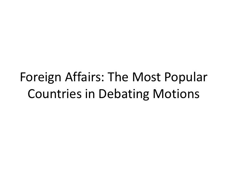 Foreign Affairs: The Most Popular Countries in Debating Motions