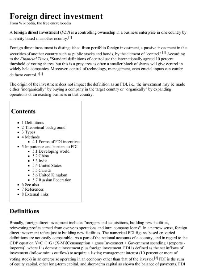 essays on international trade and foreign direct investment Essays on international trade and foreign direct investment wanasin sattayanuwat, phd university of nebraska, february 2011 advisor: professor craig r macphee.