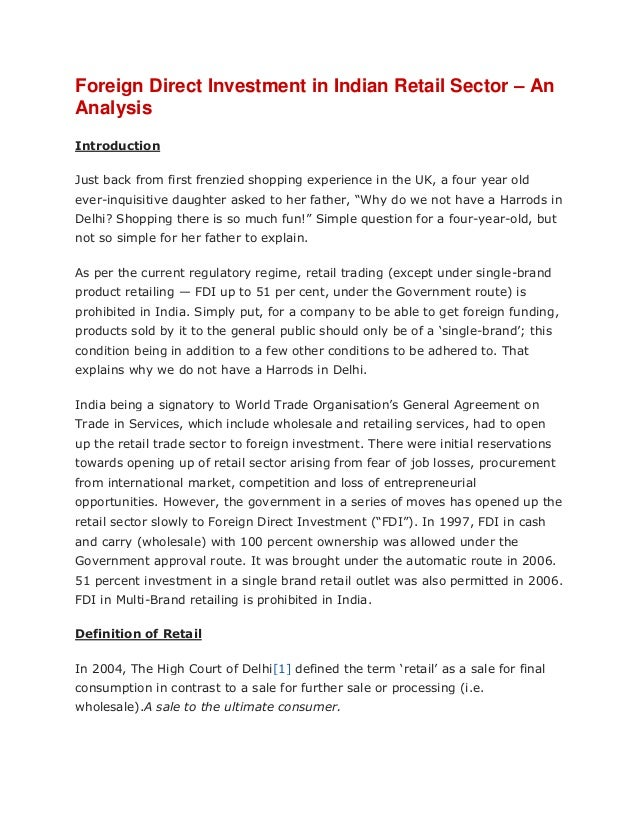thesis on fdi in retail in india 2015-3-3 foreign direct investment in retail in india dr gaurav bisaria assistant professor,  present shape of fdi  the retail industry in india.