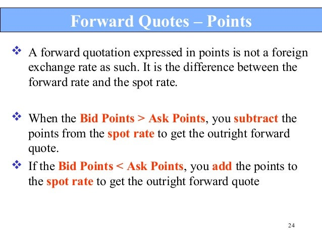 Spot market and forward market in forex