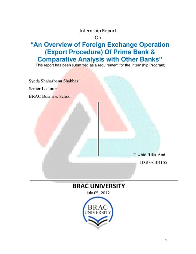 "1Internship ReportOn""An Overview of Foreign Exchange Operation(Export Procedure) Of Prime Bank &Comparative Analysis with ..."