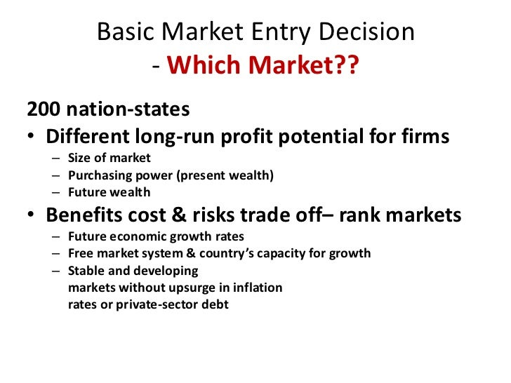 market entry strategy essay A market entry strategy maps out how to sell, deliver and distribute your products  in another country when you're exporting a service, the strategy defines ways.