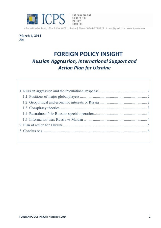 "FOREIGN POLICY INSIGHT: Russian Aggression, International Support and Action Plan for Ukraine""."