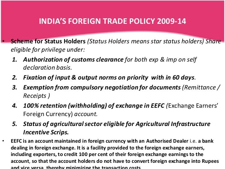 essay on foreign trade policy of india How good is india's new foreign trade policy for exports - the turmoil in middle east is going to impact indian exports as european union, japan, russia and middle east combined account for.