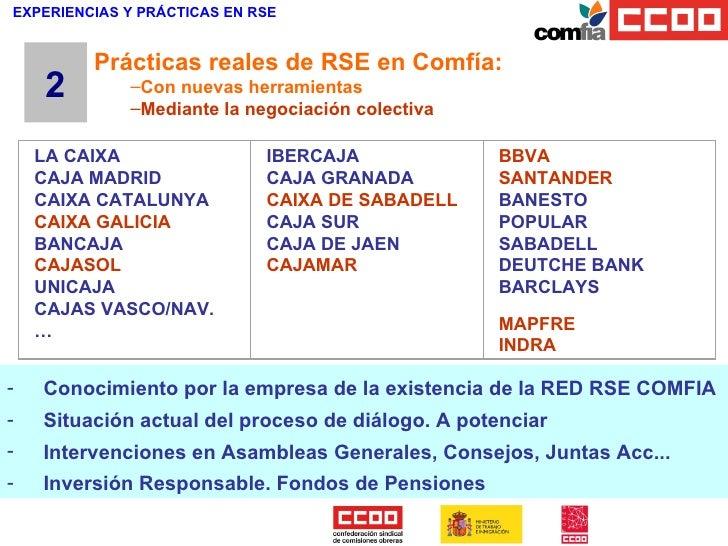 EXPERIENCIAS Y PRÁCTICAS EN RSE <ul><li>Conocimiento por la empresa de la existencia de la RED RSE COMFIA </li></ul><ul><l...