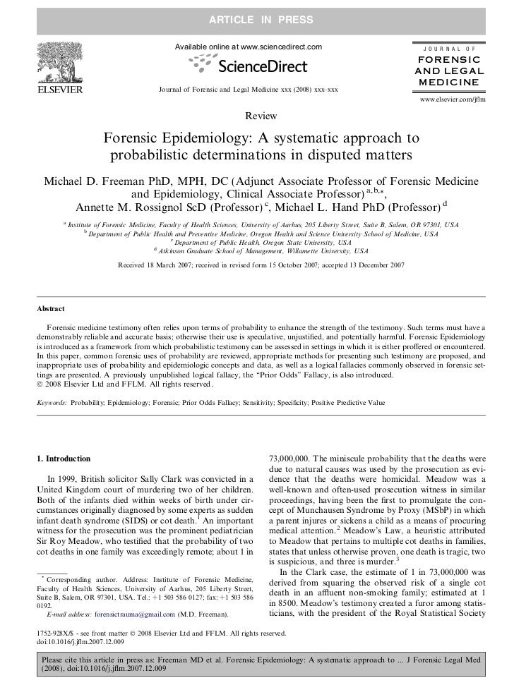 Forensic Epidemiology A Systematic Approach To Probabilistic Determinations In Disputed Matters