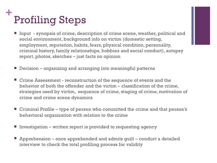 criminal profiling history essay Derived from the latin word 'filum', 'to profile' means 'to thread' or 'to shape' profiling broadly means identifying social, emotional, and physical characteristics of an offender based on the data gathered at the crime-scene this method of criminal.