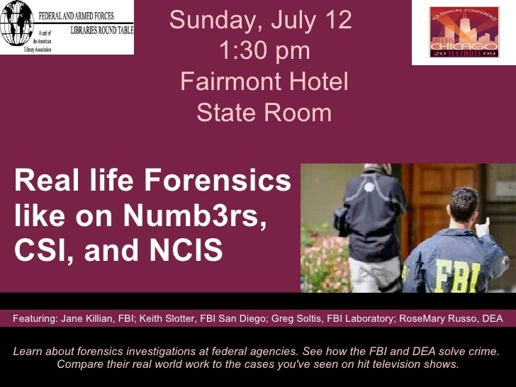 Real life Forensics like on Numb3rs,  CSI, and NCIS  Learn about forensics investigations at federal agencies. See how the...