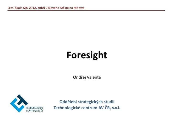 Ondřej Valenta: FORESIGHT (LŠ 2012)