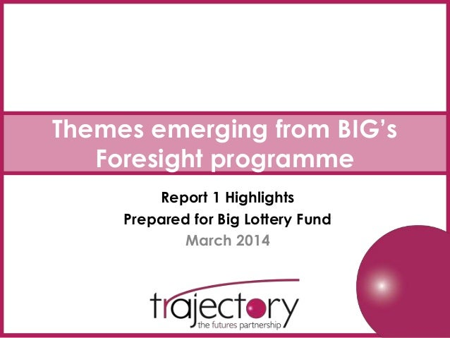 Themes emerging from BIG's Foresight programme Report 1 Highlights Prepared for Big Lottery Fund March 2014