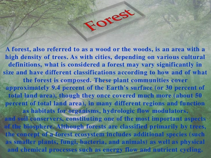 search essay about forest and wildlife Deforestation essay 4 (250 words) deforestation is the rapid loss of forests by cutting plants regularly without replanting it is endangering the wildlife, human health and environment.