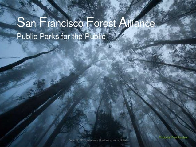 San Francisco Forest AlliancePublic Parks for the PublicPhoto by Paul HudsonCopyright - SF Forest Alliance. Unauthorized u...