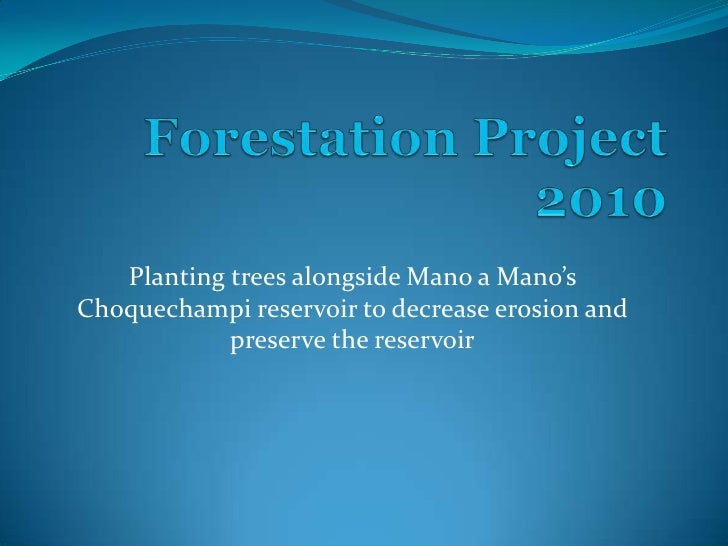Forestation Project2010 <br />Planting trees alongside Mano a Mano'sChoquechampi reservoir to decrease erosion and prese...