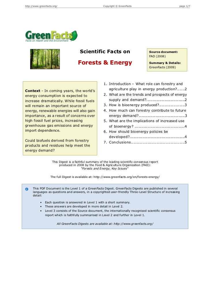 Scientific Facts on Forests & Energy