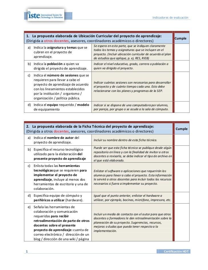 Indicadores de evaluación1. La propuesta elaborada de Ubicación Curricular del proyecto de aprendizaje:                   ...