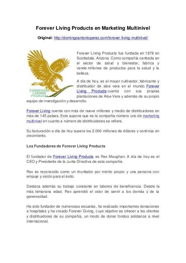 Forever Living Products en Marketing MultinivelOriginal: http://domingoantonioperez.com/forever-living-multinivel/Forever ...