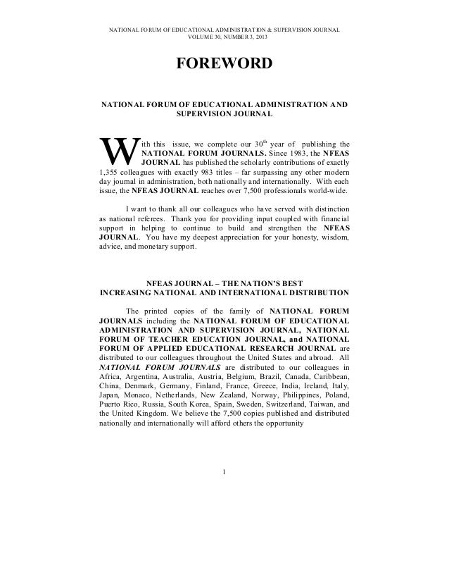 NATIONAL FORUM OF EDUCATIONAL ADMINISTRATION & SUPERVISION JOURNALVOLUME 30, NUMBER 3, 2013FOREWORDNATIONAL FORUM OF EDUCA...