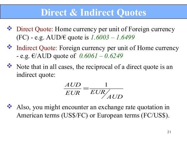 Difference between direct and indirect forex quote