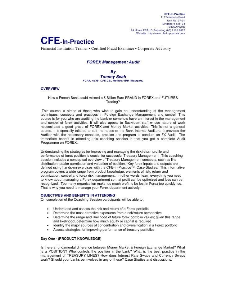Forex management audit