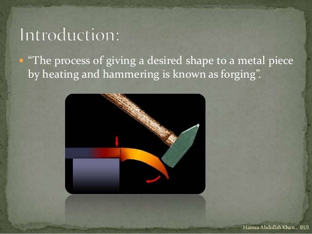 """ """"The process of giving a desired shape to a metal piece by heating and hammering is known as forging"""".                  ..."""