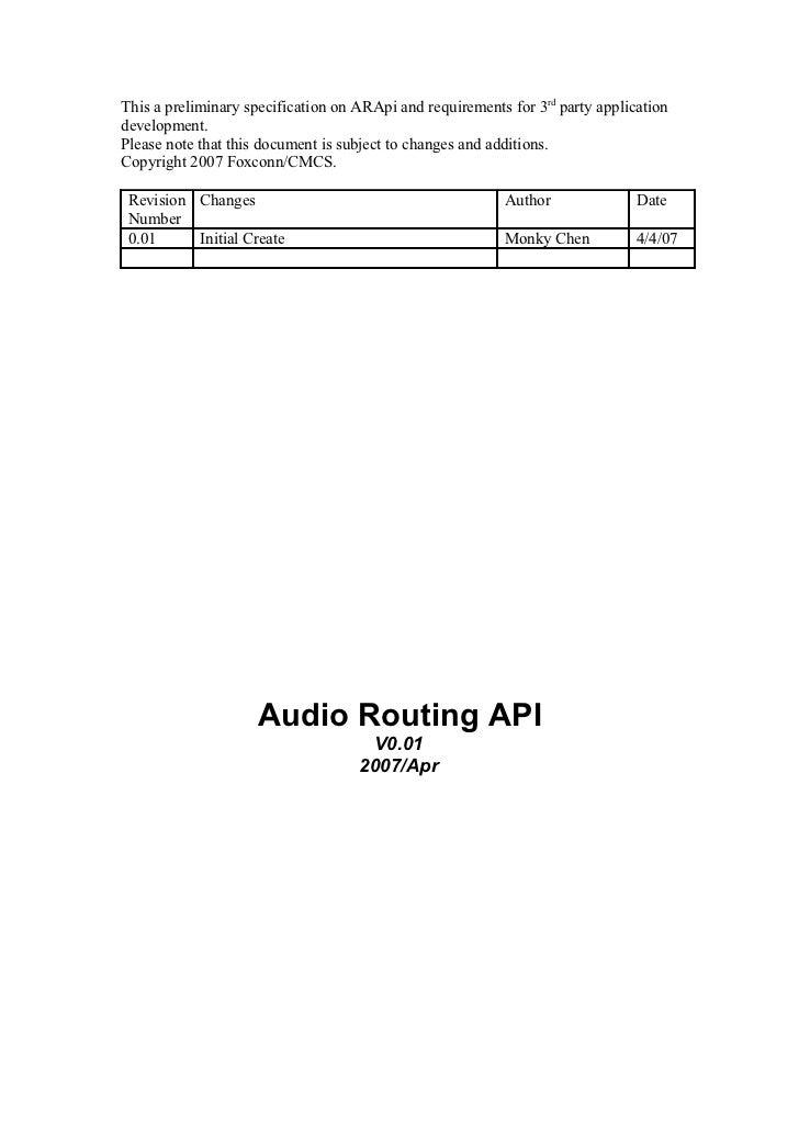 For HP Audio Routing API design document