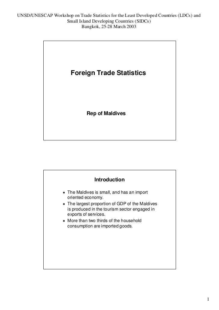 Foriegn Trade Statistics Of Maldives