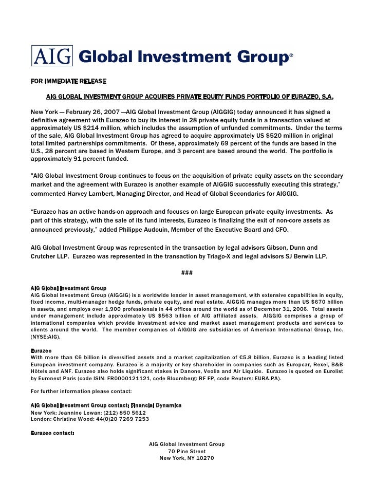 Aig Global Investment Group Acquires Private Equity