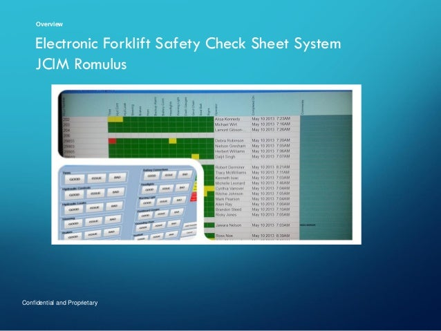 Overview  Electronic Forklift Safety Check Sheet System JCIM Romulus  Confidential and Proprietary