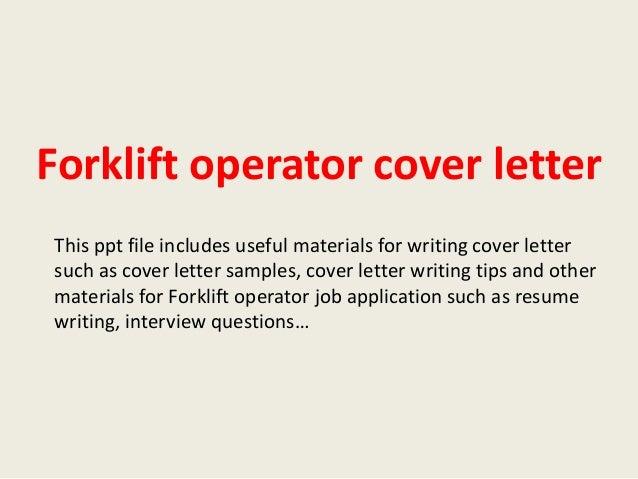Forklift Driver Cover Letter
