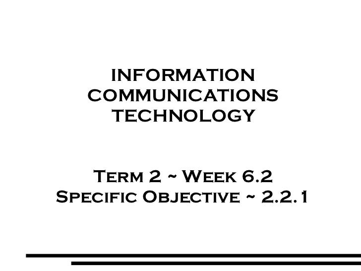 INFORMATION COMMUNICATIONS TECHNOLOGY Term 2 ~ Week 6.2 Specific Objective ~ 2.2.1