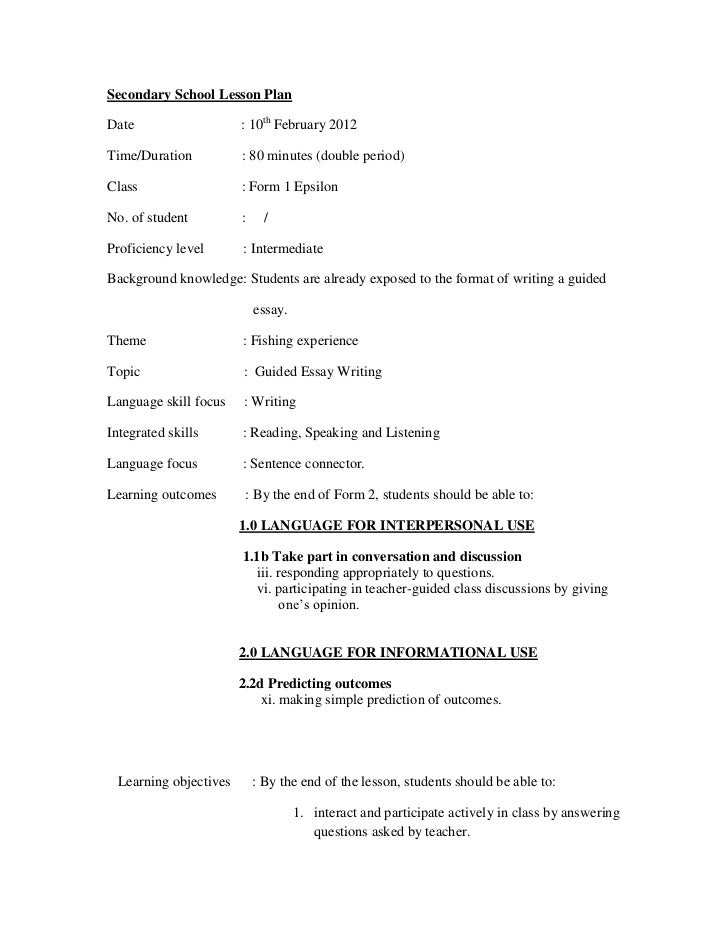 Secondary School Lesson PlanDate                   : 10th February 2012Time/Duration          : 80 minutes (double period)...
