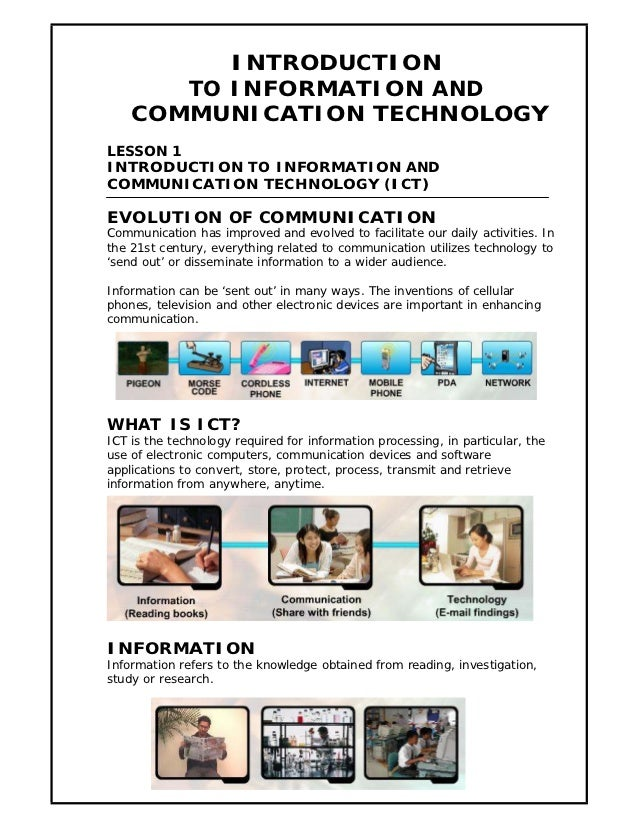 INTRODUCTION       TO INFORMATION AND    COMMUNICATION TECHNOLOGYLESSON 1INTRODUCTION TO INFORMATION ANDCOMMUNICATION TECH...